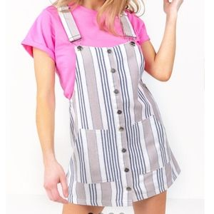Striped overall dress with pockets